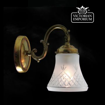 Pineapple etched cut glass wall light in distressed brass