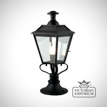 William pedestal lantern in antique bronze