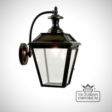 William wall light in antique bronze with curved arm
