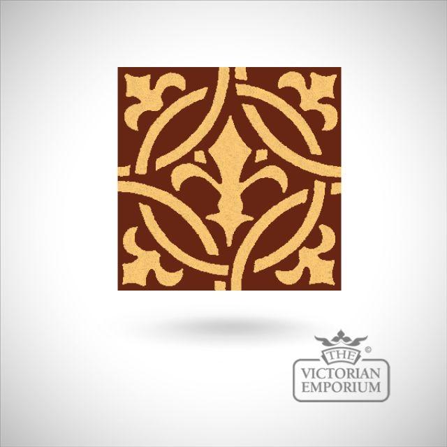 """Encaustic 4.25"""" square tile - design 10"""
