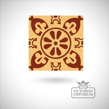 """Encaustic 4.25"""" square tile - design 29"""