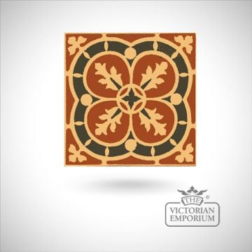 "Encaustic 4.25"" square tile - design 41"