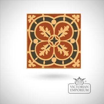 """Encaustic 4.25"""" square tile - design 41"""