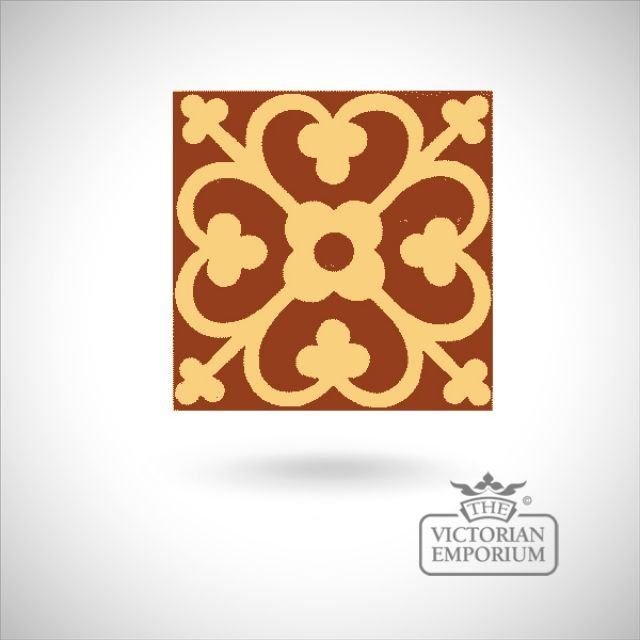 "Encaustic 4.25"" square tile - design 42"