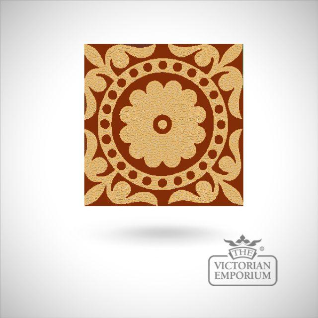 """Encaustic 4.25"""" square tile - design 47"""