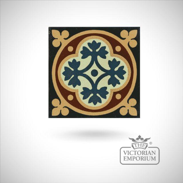 """Encaustic 4.25"""" square tile - design 45"""