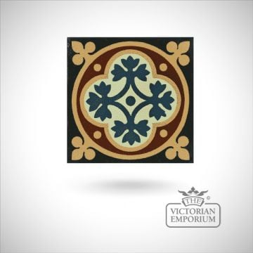 "Encaustic 4.25"" square tile - design 45"