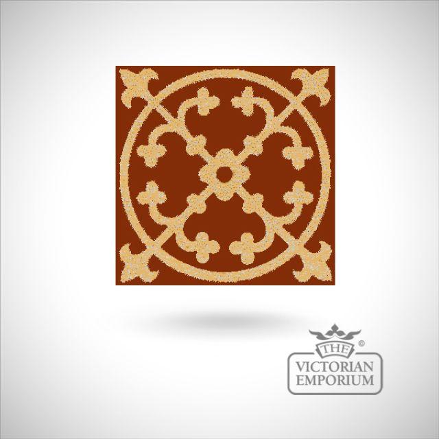 """Encaustic 4.25"""" square tile - design 50"""