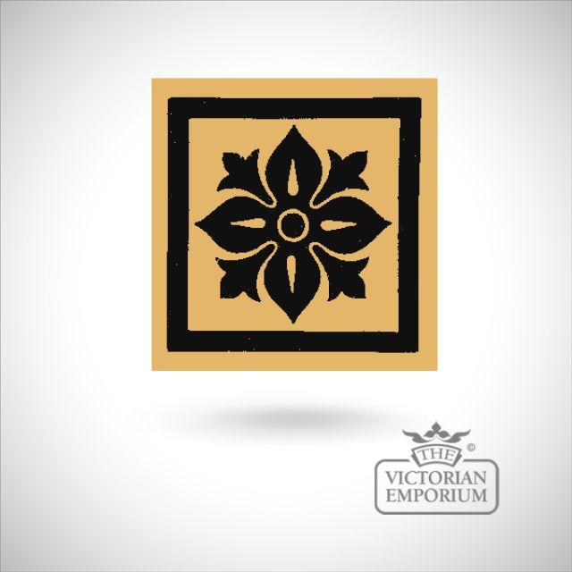 """Encaustic 4.25"""" square tile - design 51"""