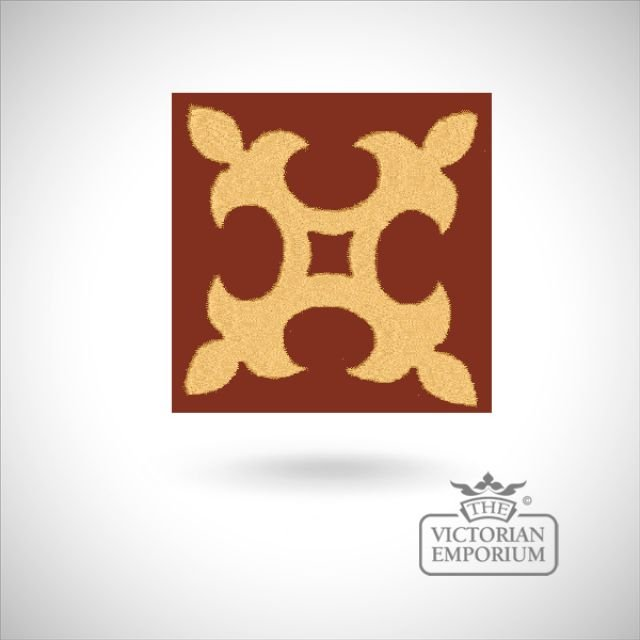 "Encaustic 2.25"" square tile - design 5"
