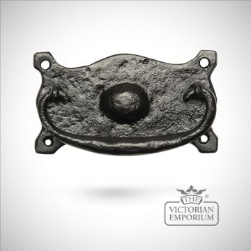 Black iron handcrafted ornate drawer handle