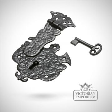 Black iron handcrafted highly ornate drawer lock
