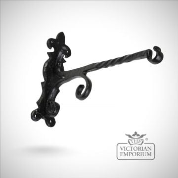 Black iron handcrafted Fireside basket hook