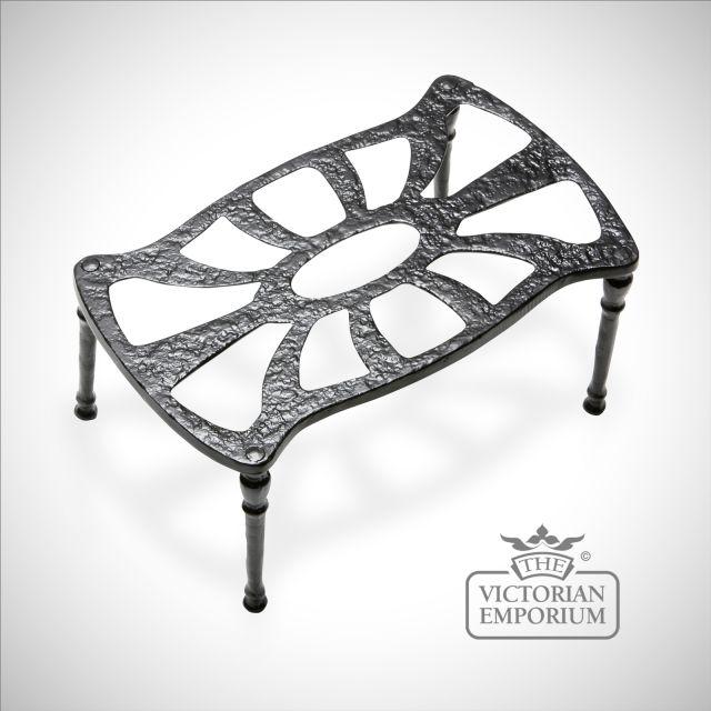 Black iron handcrafted rectangular Fireside Kettle Stand