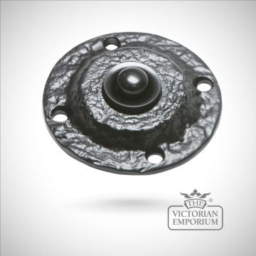 Black iron handcrafted circular bell push
