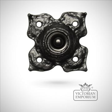 Black iron flower handcrafted bell push