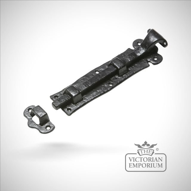 Black iron handcrafted door bolt - straight or cranked
