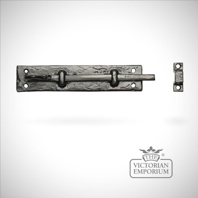 Black iron handcrafted door bolt - 2 sizes