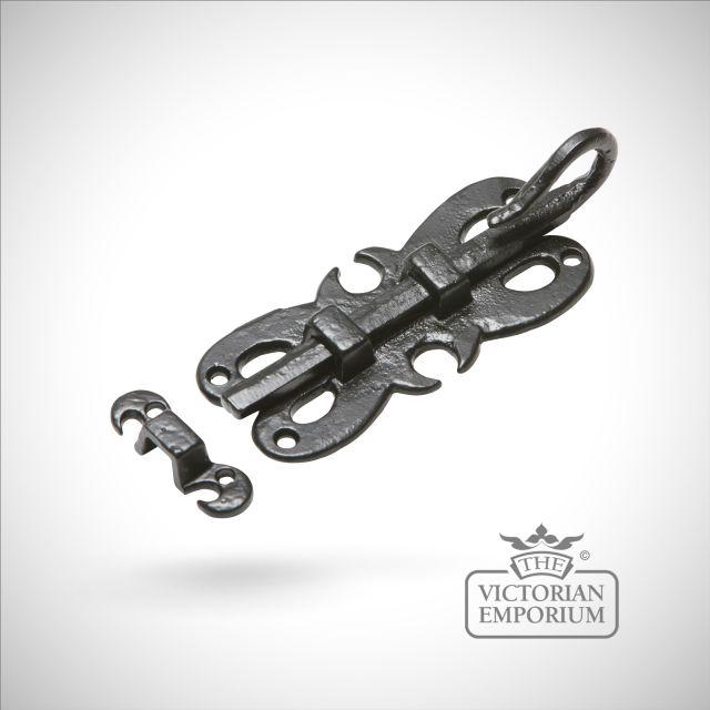 Black iron decorative handcrafted door bolt