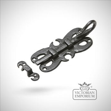 Black iron decorative handcrafted door bolt