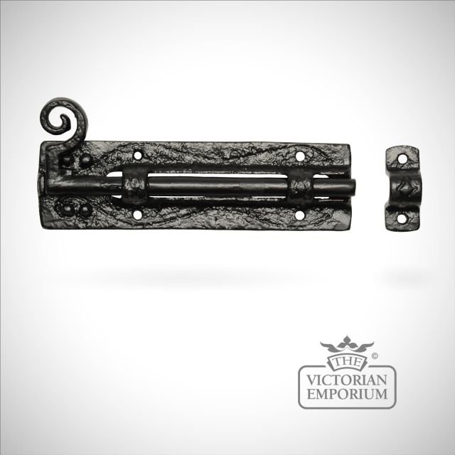 Black iron handcrafted plain door bolt with curly tail