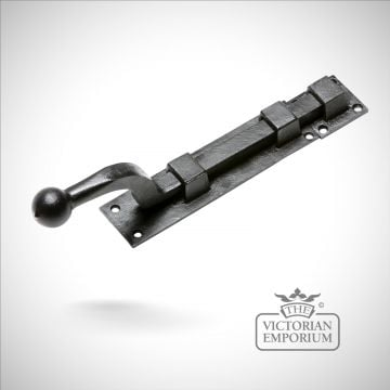 Black iron handcrafted door bolt in a choice of sizes