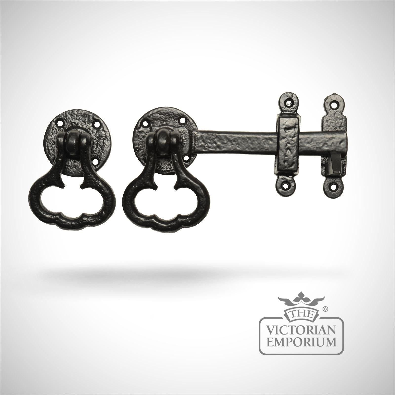 Black Iron Handcrafted Latch With Decorative Handle Latches