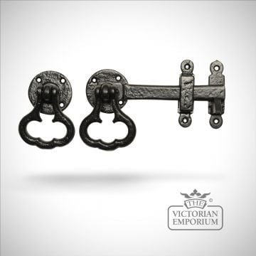 Black iron handcrafted latch with decorative handle