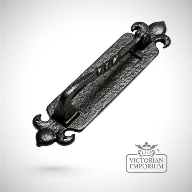 Black iron handcrafted letterplate with handle