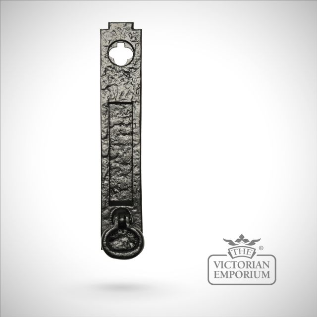Black iron handcrafted letterplate with small knocker