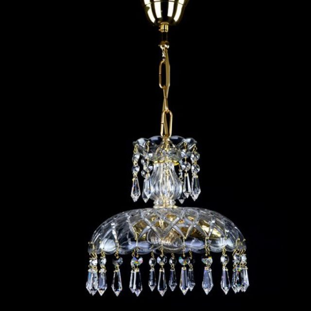 Small basket chandelier with drops