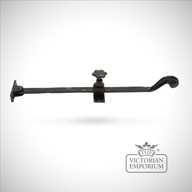 Black iron handcrafted casement stay