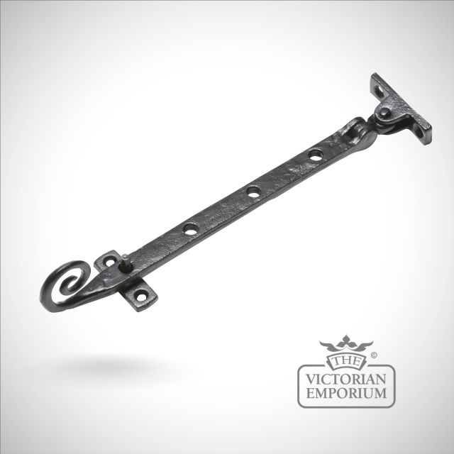 Black iron handcrafted monkey tail casement stay - Style 1