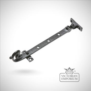 Black iron handcrafted casement stay - choice of 3 sizes