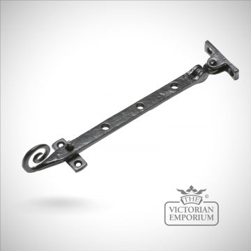 Black iron handcrafted monkey tail casement stay - choice of 3 sizes
