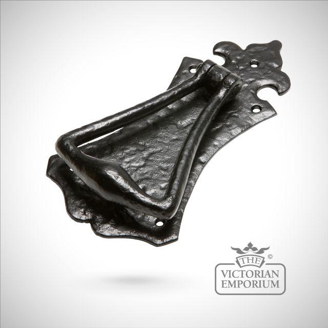 Black iron handcrafted triangle door knocker