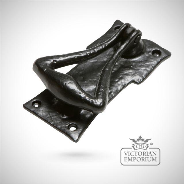 Black iron handcrafted chunky door knocker