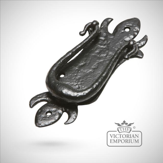 Black iron handcrafted traditional door knocker