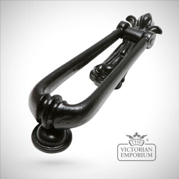 Black iron handcrafted loop shaped door knocker