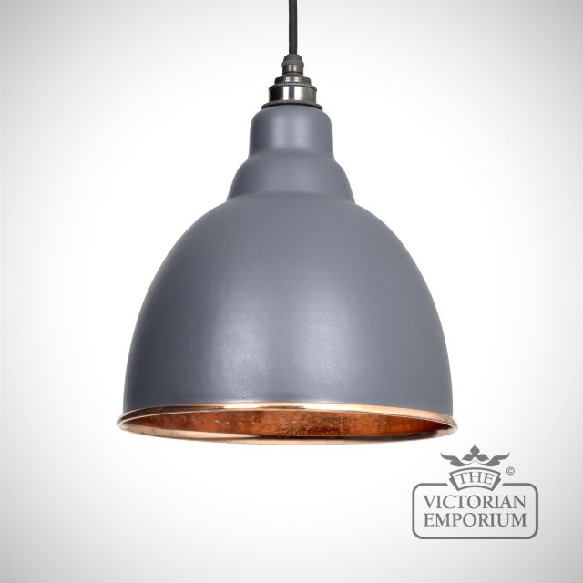Brindle pendant in matt dark grey with copper interior