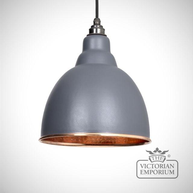Brindle pendant in matt dark grey with copper interior