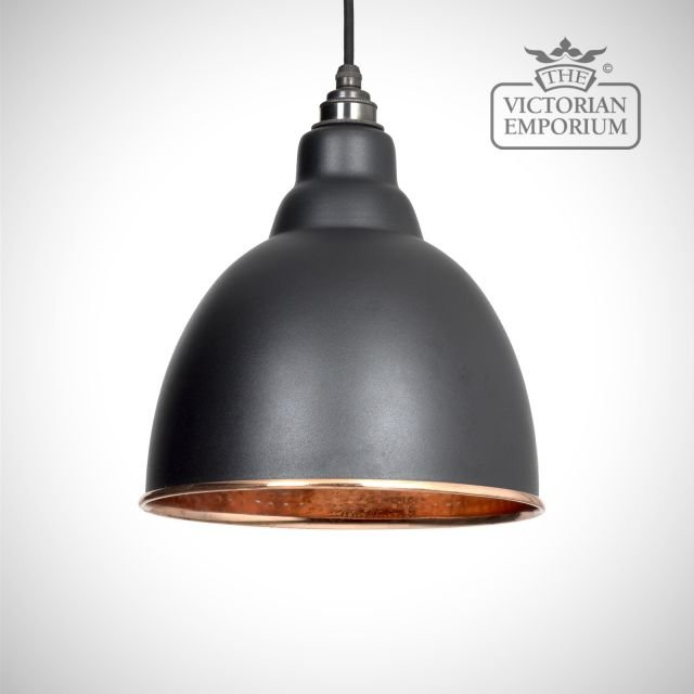 Brindle pendant in black with copper interior