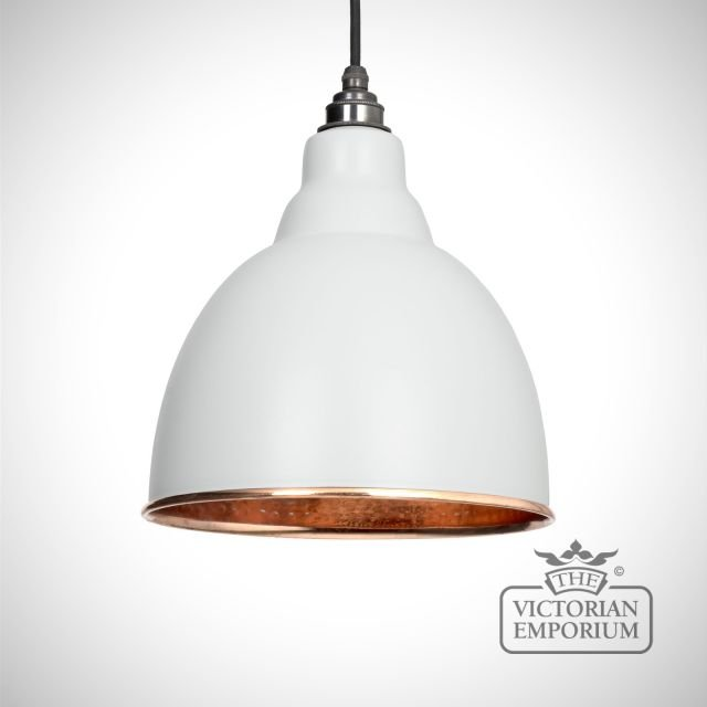 Brindle pendant in light grey with copper interior