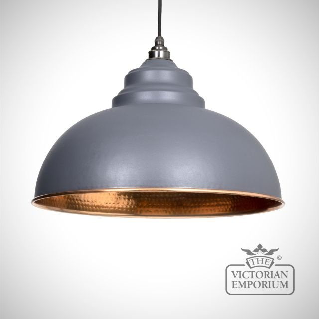Harlow pendant in dark grey with copper interior
