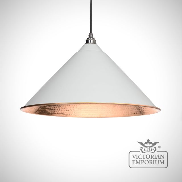 Hockliffe pendant in light grey and hammered copper
