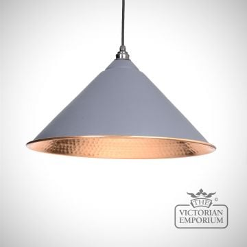 Hockliffe pendant in dark grey and hammered copper
