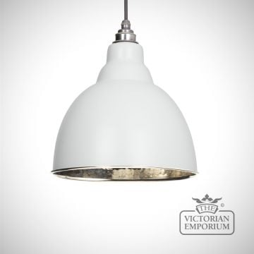 Brindle pendant in light grey with hammered nickel interior