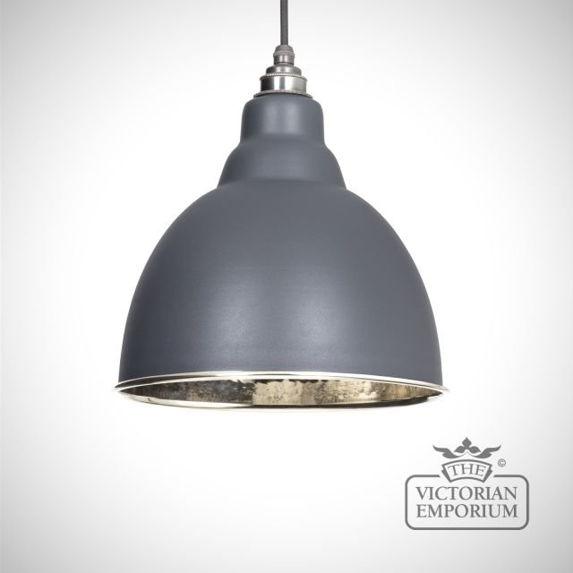 Brindle pendant in matt dark grey with hammered nickel interior