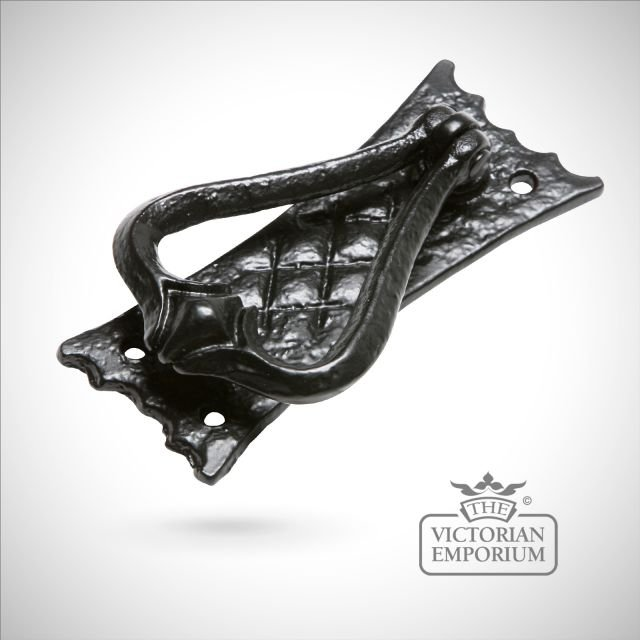 Black iron handcrafted decorative door knocker with flat plate