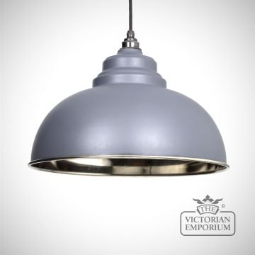 Harlow pendant in dark grey with smooth nickel interior